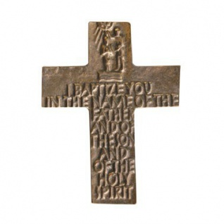 Wandkreuz Taufe Taufkreuz englischer Text Bronze Kreuz 12 cm