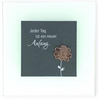 Wandrelief Neuer Anfang Blume Bronze 17 cm George Eliot Glas Schiefertafel
