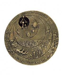 Bronze Plakette Relief Schöpfung klein rund 7, 5 cm Hermann Schilcher Handarbeit