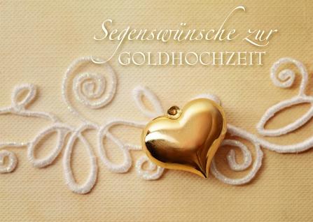 Hochzeitskarte Segenswünsche zur Goldhochzeit (6 Stck)