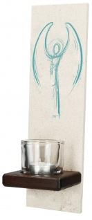 Engel Bild Naturstein-Stele Windlicht Glas inkl. Teelicht Wandbild Deko