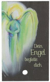 Schieferrelief Dein Engel begleite dich 10 x 6 cm zum Aufstellen Schiefertafel
