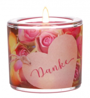 Glaswindlicht Danke Daphne du Maurier Teelicht Kerzenhalter Glas für Windlicht