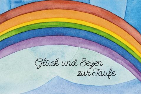 Glückwunschkarte Glück und Segen zur Taufe Regenbogen Mose (6 Stück) Kuvert