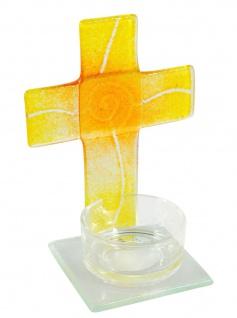 Teelichthalter Kreuz zur Meditation Glas Gelb 11 cm Stehkreuz für Kerze