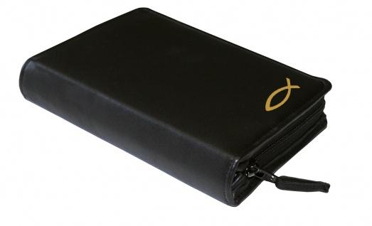 Gotteslobhülle Fisch Gold Rindleder Schwarz Gesangbuch Einband Katholisch