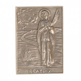 Namenstag Beatrix 8 x 6 cm Bronzeplakette Bronzerelief Wandbild Schutzpatron
