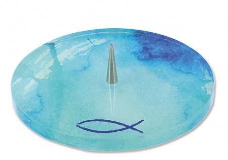 Kerzenhalter Fisch Ichthys Glas 13, 5 cm Metalldorn Kerzenständer Kommunion