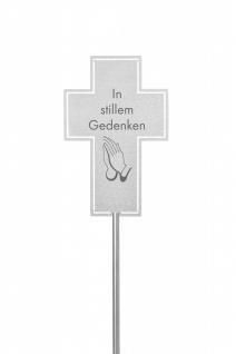 Grabstecker In stillem Gedenken Edelstahl Kreuz wetterfest Grabschmuck