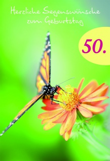 Geburtstagskarte 50. Herzliche Segenswünsche (6 St.) Glückwunschkarte Kuvert