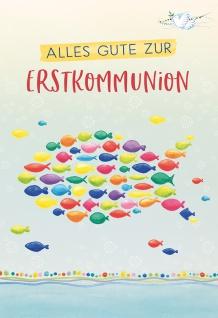 Glückwunschkarte Bunte Fische Alles Gute zur Erstkommunion (6 Stück)