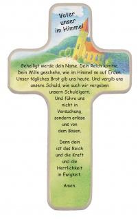 Kreuz für Kinder Vater unser Gebet 18 cm Kruzifix Holz-Kreuz Wandkreuz