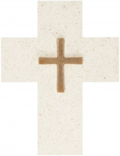 Kreuz aus Naturstein Kruzifix 17 cm Bronze Geschenkverpackung Wandkreuz