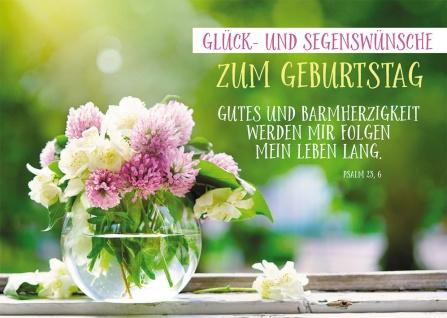 Postkarte Geburtstag Blumenstrauß 10 St Adressfeld Bibelwort Segen Wunsch Glück