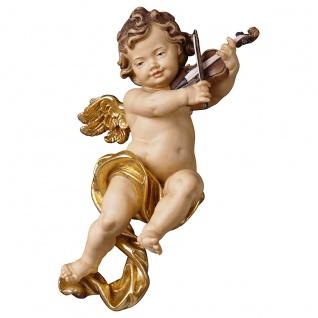 Putte mit Geige Holzfigur geschnitzt Südtirol Puttenfigur