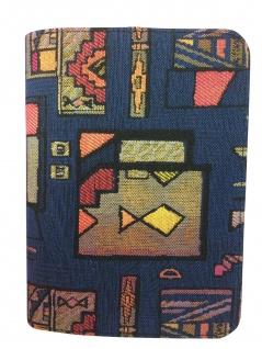 Gotteslobhülle Stoff Blau mehrfarbiges Design Gesangbuch Einband Katholisch