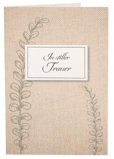 Trauerkarte In stiller Trauer (6 St) Gräser Folienprägung Grußkarte Kuvert