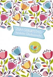 Glückwunschkarte Geburtstag Glas-Magnet Vogel 5 St Kuvert Blumen Geschenk Herz