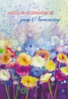 Glückwunschkarte Herzliche Segenswünsche zum Namenstag (6 St) Blumen Psalm