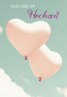 Glückwunschkarte Alles Liebe zur Hochzeit (6 St) Zwei Herz Luftballons