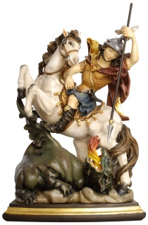 Heiligenfigur Heiliger Georg Holz Figur handbemalt Südtiroler Schnitzkunst