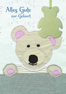 Geburtskarte Anhänger Bär Alles Gute ( 5 Stck) Spruch Glückwunschkarte Geburt