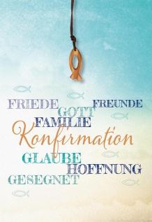 Glückwunschkarte Konfirmation 5 St Kuvert Fisch-Holzanhänger Textilband Segen