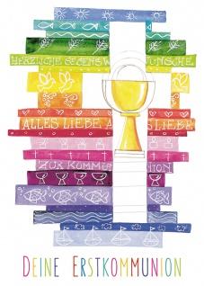 Postkarte Deine Erstkommunion (10 St) Kelch Kreuz und Regenbogen Grußkarte