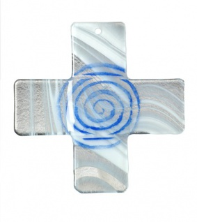Glaskreuz Spirale Fusing Glas Kreuz weiss blau Handarbeit 18 cm Wandkreuz Unikat