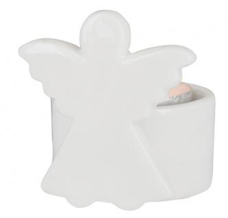 Porzellan-Figur Engel mit Teelicht 6 cm Engelfigur weiß Geschenkverpackung