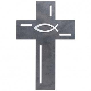 Wandkreuz Schiefer Ichthys Edelstahl-Auflage Kreuz 23 cm Kruzifix Christlich