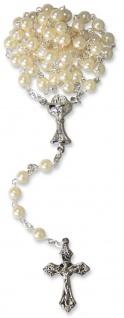 Rosenkranz Erstkommunion Kelch Perle Weiß Goldgelb rund gekettelt 36 cm