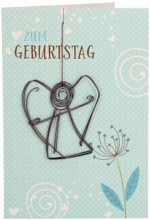 Glückwunschkarte Geburtstag Engel-Anhänger 5 St Kuvert Naturpapier Blume Schutz