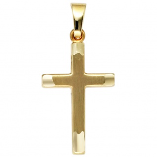 Anhänger Kreuz 333 Gold Gelbgold mattiert Kreuzanhänger Goldkreuz