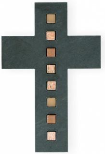 Wandkreuz Schiefer Inlays Mosaiksteine Kreuz 26 cm Kruzifix Christlich