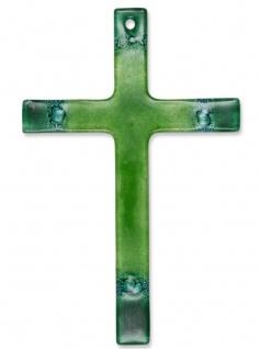Kreuz aus Glas grün dunkelgrün Fusing Glas Kreuz Kruzifix 14 cm Wandkreuz