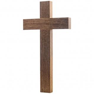 Kreuz schlicht Eichenholz dunkel 20 cm Handarbeit gerader Querbalken Kruzifix