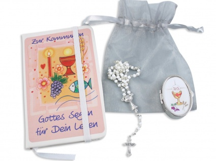Erstkommunion Geschenk-Set Rosenkranz Etui Notizbuch Kommunion