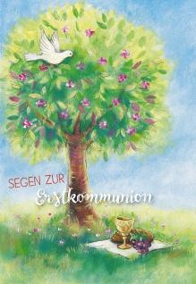 Glückwunschkarte Segen zur Erstkommunion (6 St) Taube und Lebensbaum Grußkarte
