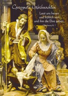 Postkarte Gesegnete Weihnachten Heilige Familie Grußkarte Bibelwort (10 Stück)