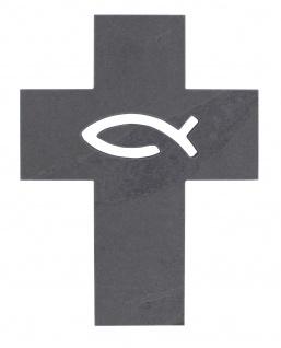 Wandkreuz Schiefer Fisch Ichthys 17 cm Kreuz Kruzifix Christlich
