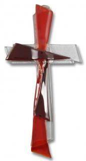 Glaskreuz Glas Kreuz rot weiss 21 cm Wandkreuz Modern Kruzifix