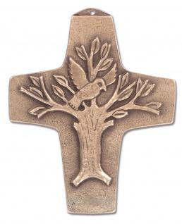 Wandkreuz Lebensbaum Bronze Erstkommunion Kreuz 9 x 11 cm Jürgen Peters