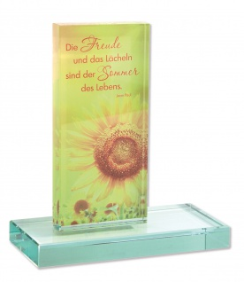 Glasstele Sommer des Lebens (Jean Paul) 14, 5 cm auf Glassockel