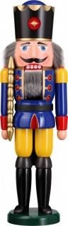 Nussknacker König blau 50 cm Holz-Figur Handarbeit aus Seiffen im Erzgebirge