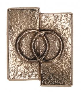 Kreuz-Plakette Eheringe aus Bronze 5, 5 cm zum Aufhängen und Hinlegen