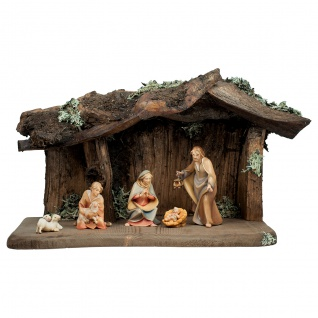 Heiland Krippe Set 8 Teile Holzfigur geschnitzt Südtirol Weihnachtskrippe