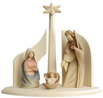 Weihnachtskrippe Heilige Familie Stall Morgenstern Holz handbemalt Schnitzkunst
