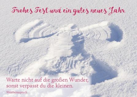Postkarte Weihnachten Wunder Schnee-Engel Achtsamkeit Weisheit (10 Stück)
