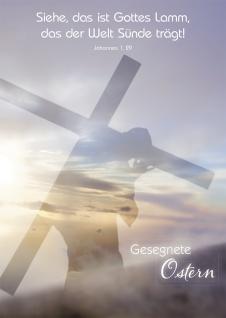Postkarte Gesegnete Ostern (10 St) Jesus trägt sein Kreuz Johannes Lutherbibel